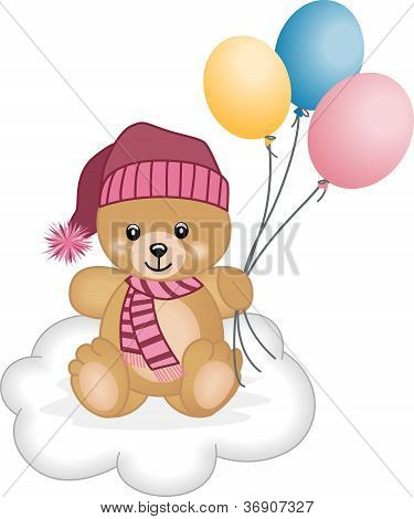 Winter teddy bear  flying balloons