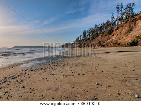 Vast Empty Beach With Pebbles