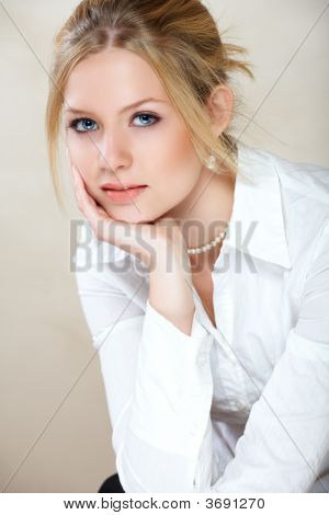 Businesswoman In White Shirt