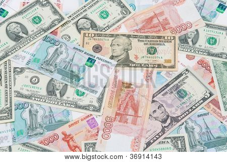 U.s. Dollars And Russian Rubles