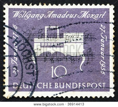 Postage stamp Germany 1956 Clavichord, Musical Instrument