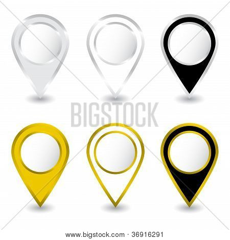 Set of gold and silver pins Vector