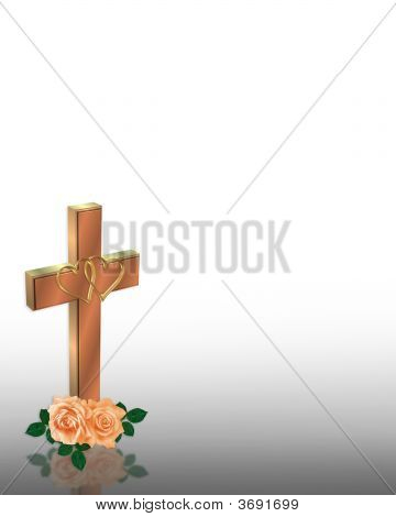 Christian Wedding Invitation Cross And Roses Stock photo
