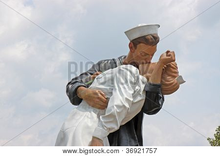 Unconditional Surrender Statue In Sarasota, Florida, Before It Was Hit By A Car And Removed