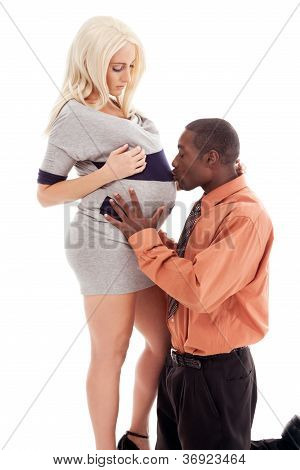 Interracial Family Pregnant Woman And Black Father