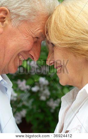 Nice couple enjoy union with nature