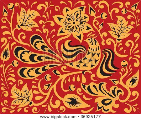 Floral Pattern With Fire Bird