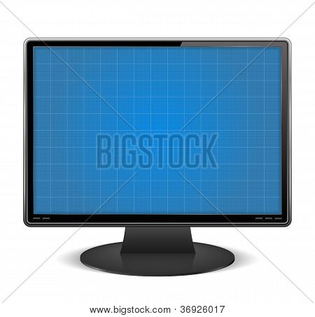 Graph paper on the screen of computer monitor