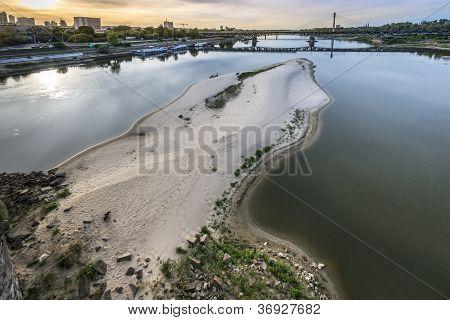 Dry Vistula River In Warsaw, Poland