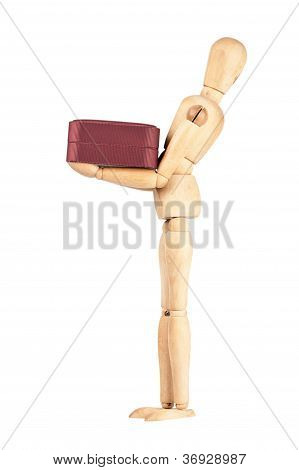 Wooden Dummy Carrying Red Gift Box