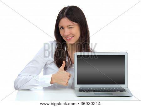 Woman With New Modern Popular Laptop Keyboard
