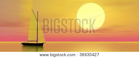 Sailboat By Sunset