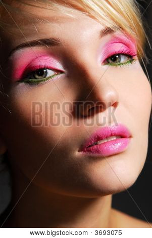 Girl With Bright Pink Make-Up