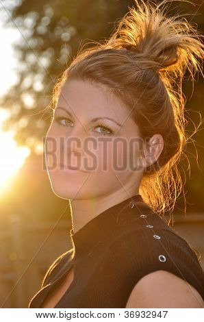 Woman Glowing At Sunset