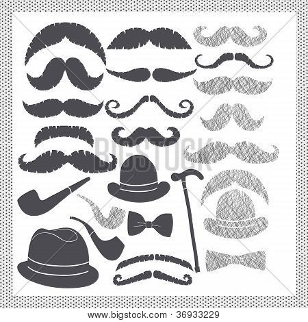 Vintage Set With Mustaches, Hats And Pipes