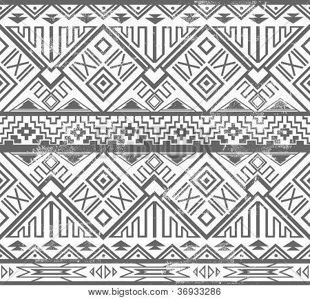 Abstract Geometric Seamless Aztec Pattern. Ikat Style Pattern.