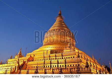 Golden Shwezigon Pagoda At Morning Twilight In Bagan, Myanmar