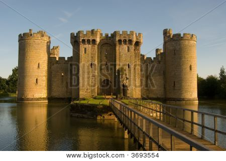 Bodiam At Sunset Across The Moat