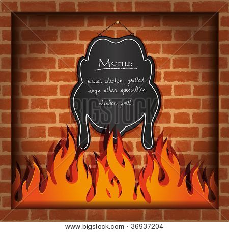 vector blackboard chicken fireplace grill