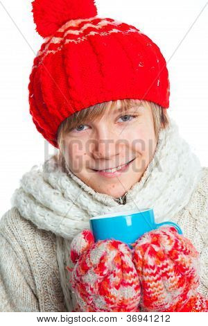 Portrait of young boy in winter style