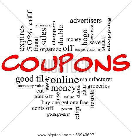 Coupons Word Cloud Concept In Red & Black