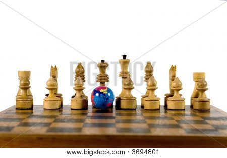 Small Globe And Wooden Chess Figures
