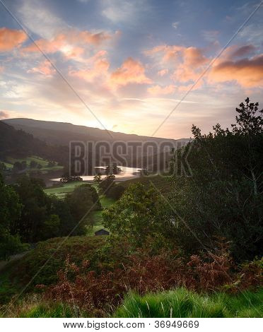 Sunrise Over Rydal Water In Lake District