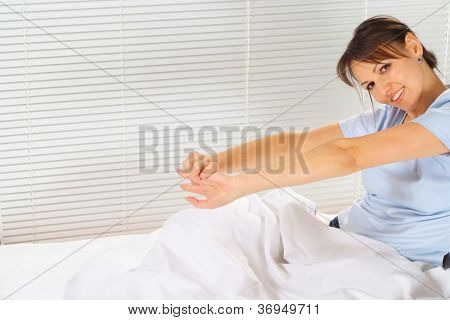 Amusing woman is resting