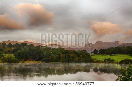 Sunrise At Loughrigg Tarn In Lake District