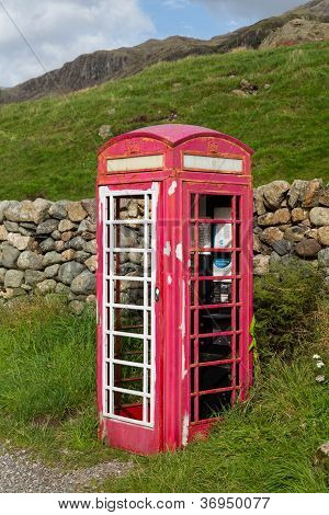 Old Bt Phone Box In Lake District Being Renovated