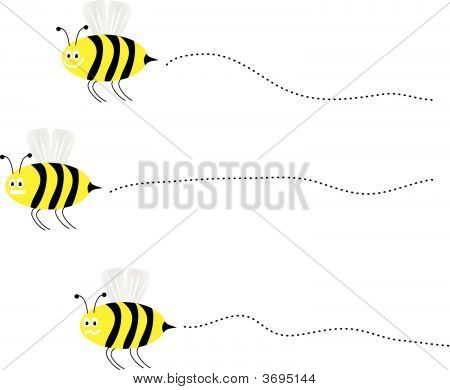 Vector Bees Flying By