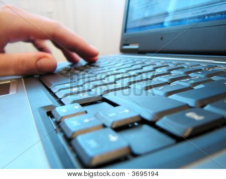 Computer Keyboard With Human Hand