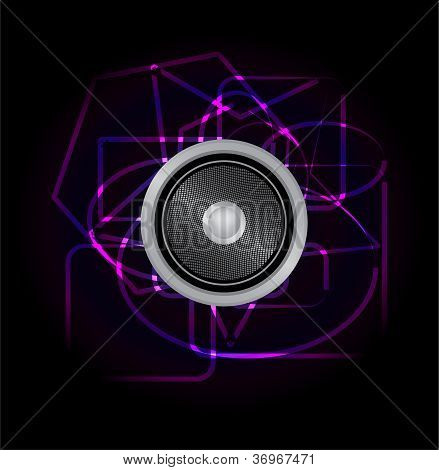 Abstract design music speaker Vector