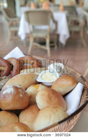 Bread In The Basket On Restaurant Table