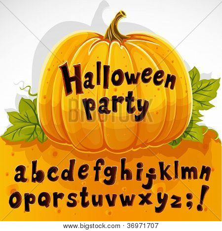 Halloween party cut out pumpkin lowercase alphabet