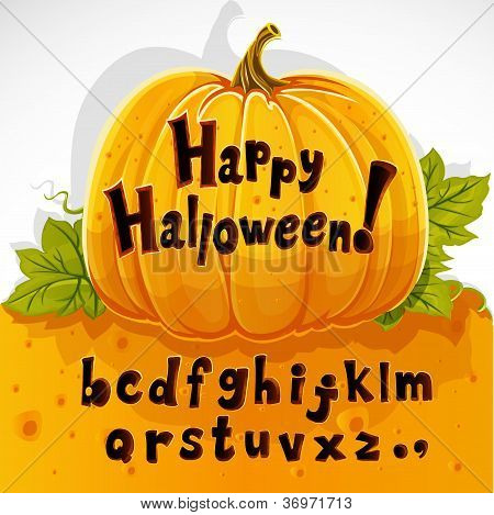 Happy Halloween cut out pumpkin lowercase alphabet