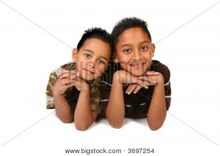 Happy Brothers Smiling On White Background