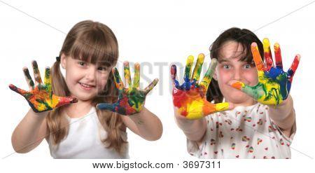 Happy School Children Painting With Hands