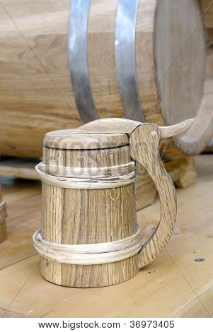 Old-fashioned, medieval wooden mug