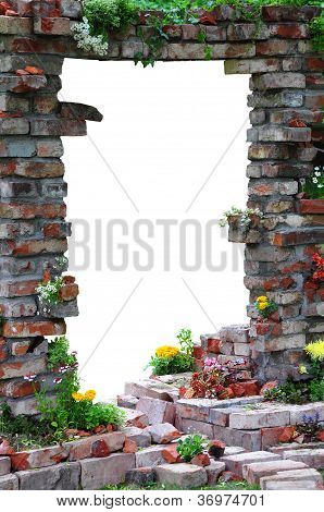 Arched Entrance Through The Wall And White Isolated Background