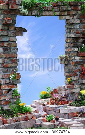 Arched Entrance Through The Wall And Sky Background
