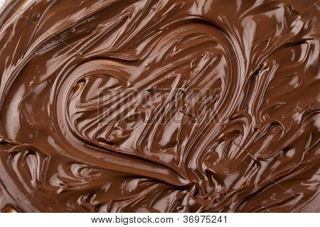 Heart Shape Made Up Of Melted Chocolate