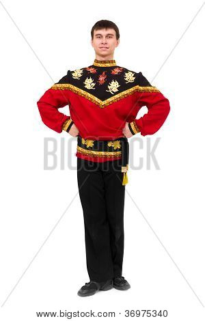 Attractive Young Dancer Wearing A Folk Russian Costume Posing