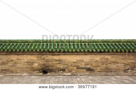 Brick Sandstone Wall With Green Glazed Roof Tiles