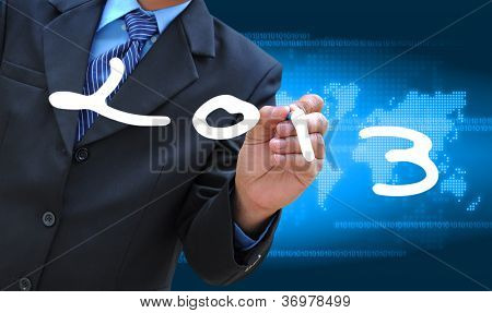businessman hand writing 2013