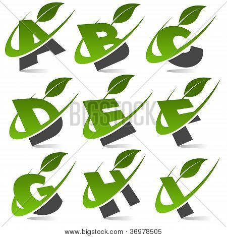 Swoosh Green Alphabet with Leaf Icon Set 1