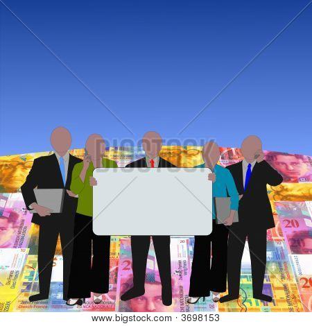 Business Team On Swiss Francs