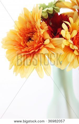 Orange Dahlias In A Vase