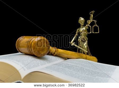 Statue Of Justice On A Black Background
