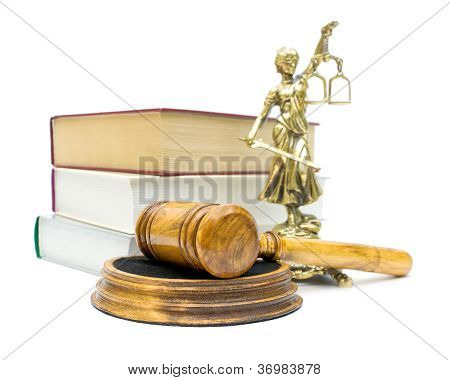 Gavel On White Background Close-up